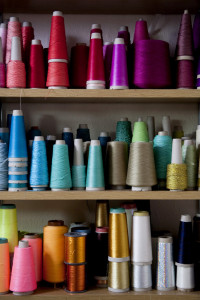 Bonnie Kirkwood, Textile Designer photographed in her room, Lond