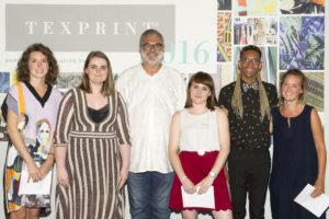 Winners of the 2016 Texprint Awards L-R Megan Clarke, Grace Lomas, Martin Leuthold, Chloe Frost, Jacob Monk, Isla Middleton